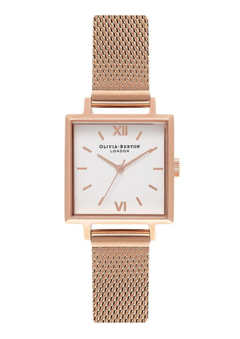 Midi Square Dial Watch - Rose Gold Mesh main image