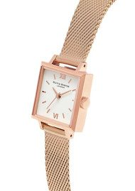 Olivia Burton Midi Square Dial Watch - Rose Gold Mesh