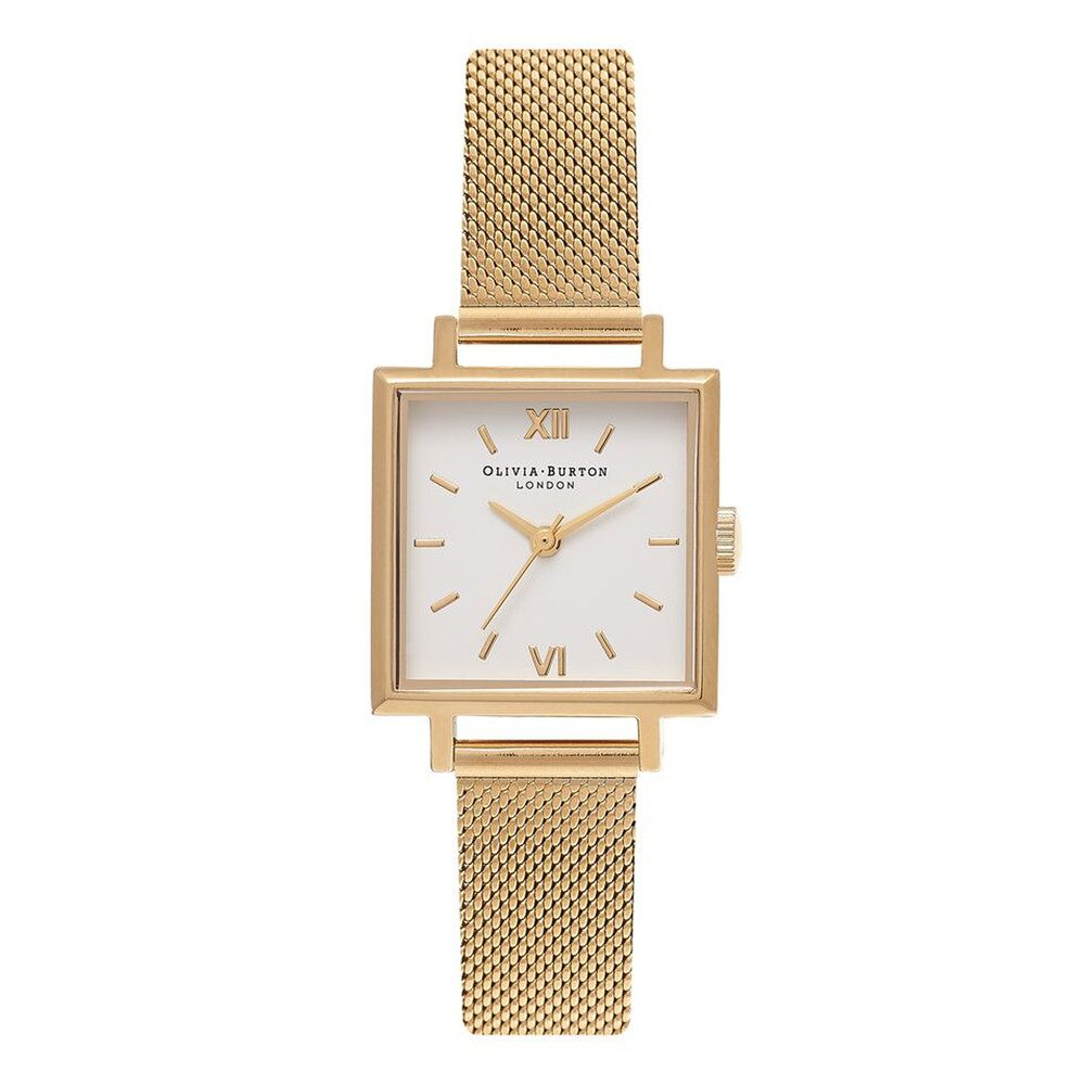 Midi Square Dial Watch - Gold Mesh