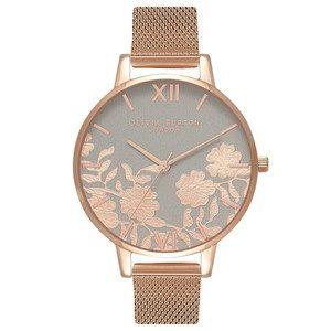 Lace Detail Mesh Watch - Grey & Rose Gold