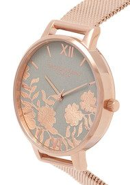 Olivia Burton Lace Detail Mesh Watch - Grey & Rose Gold
