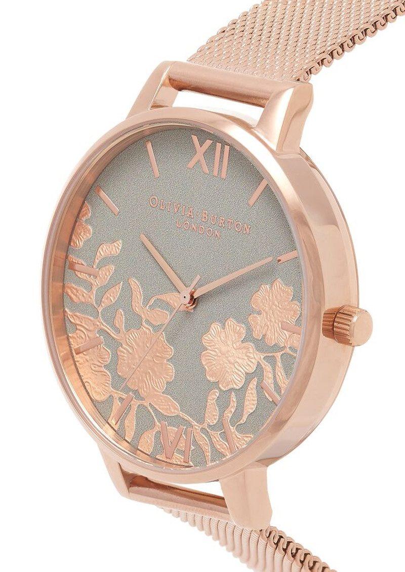 Olivia Burton Lace Detail Mesh Watch - Grey & Rose Gold main image