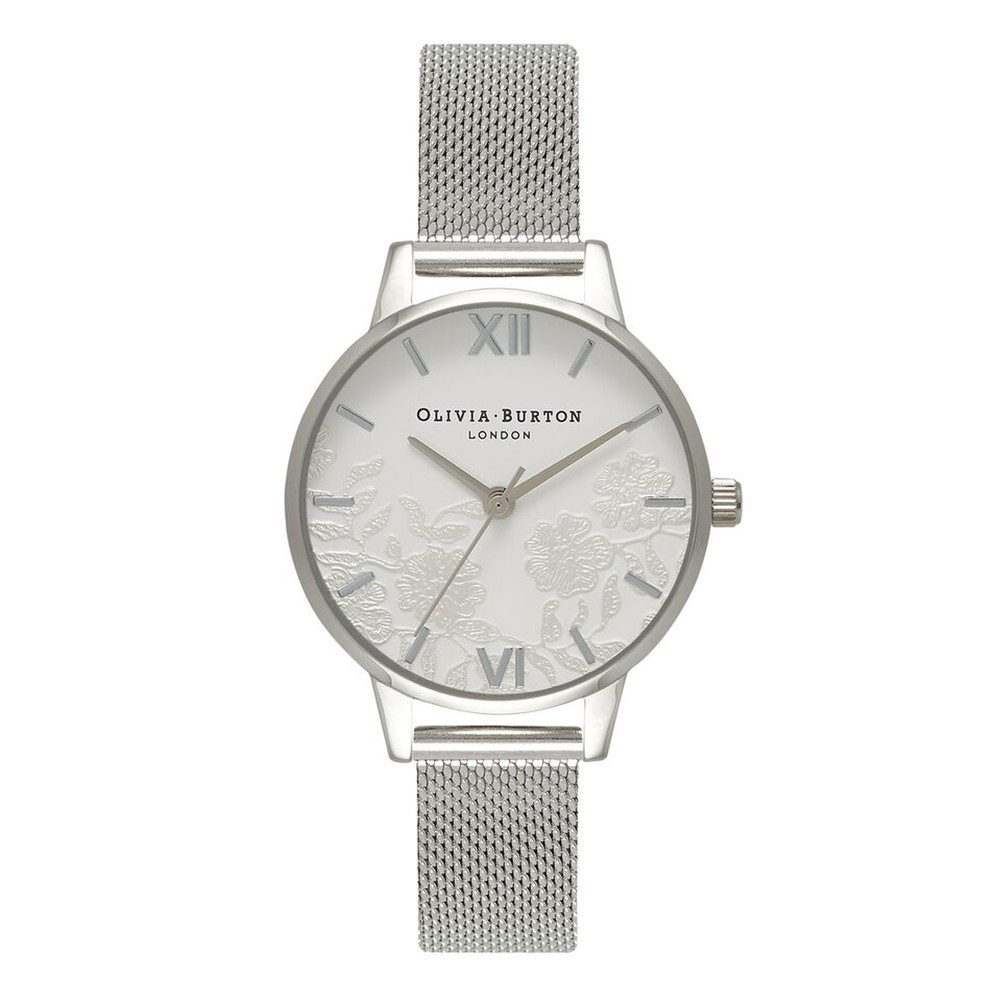 Lace Detail Mesh Watch - Silver