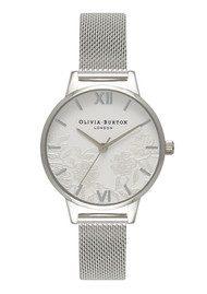 Olivia Burton Lace Detail Mesh Watch - Silver