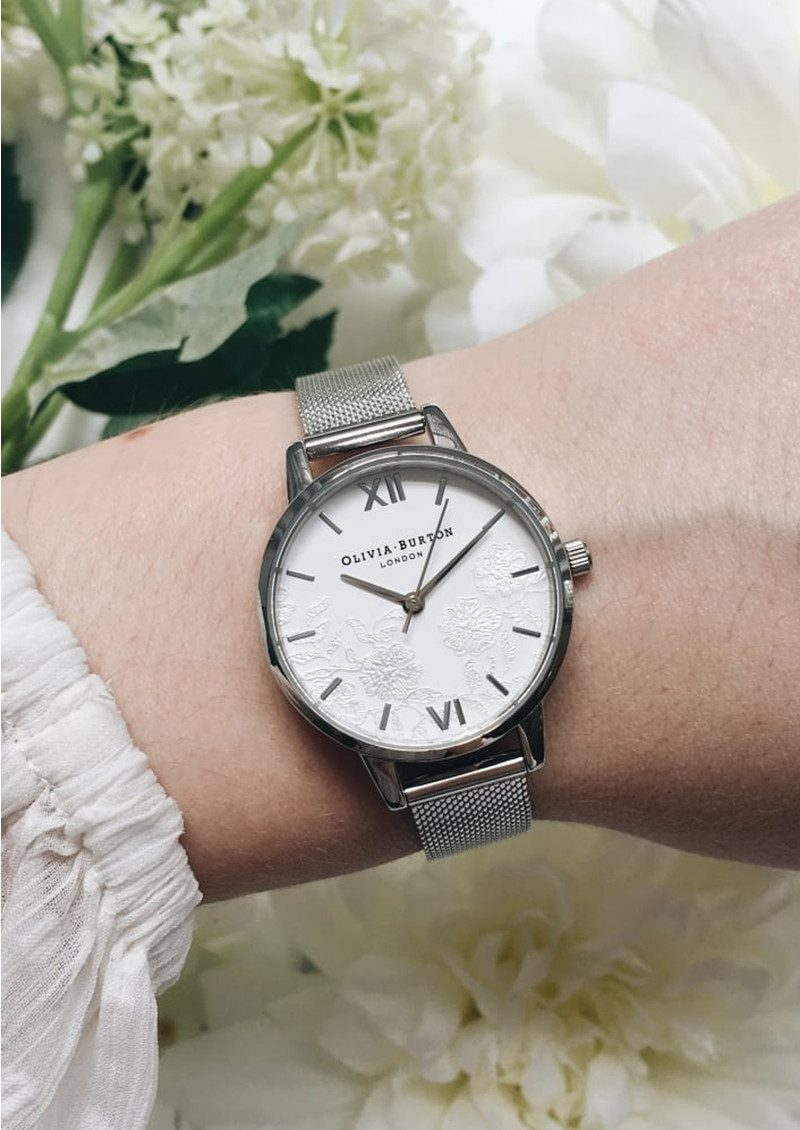 Olivia Burton Lace Detail Mesh Watch - Silver main image