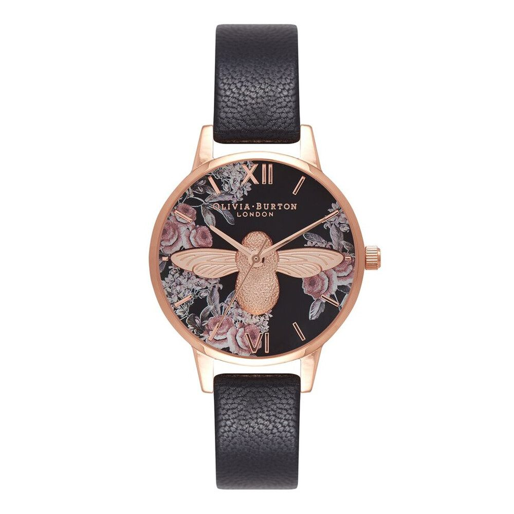 Botanical 3D Bee Watch - Black & Rose Gold