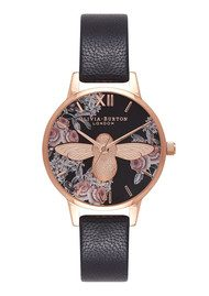 Olivia Burton Botanical 3D Bee Watch - Black & Rose Gold