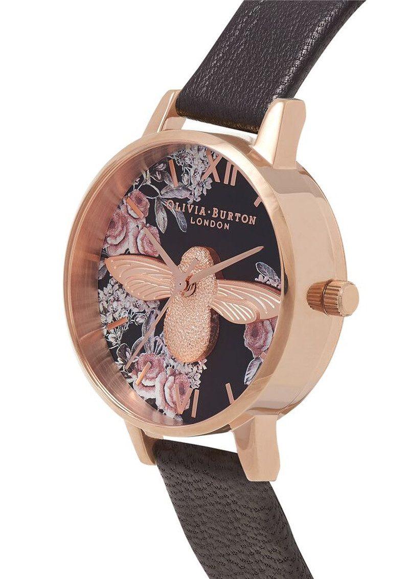Olivia Burton Botanical 3D Bee Watch - Black & Rose Gold main image