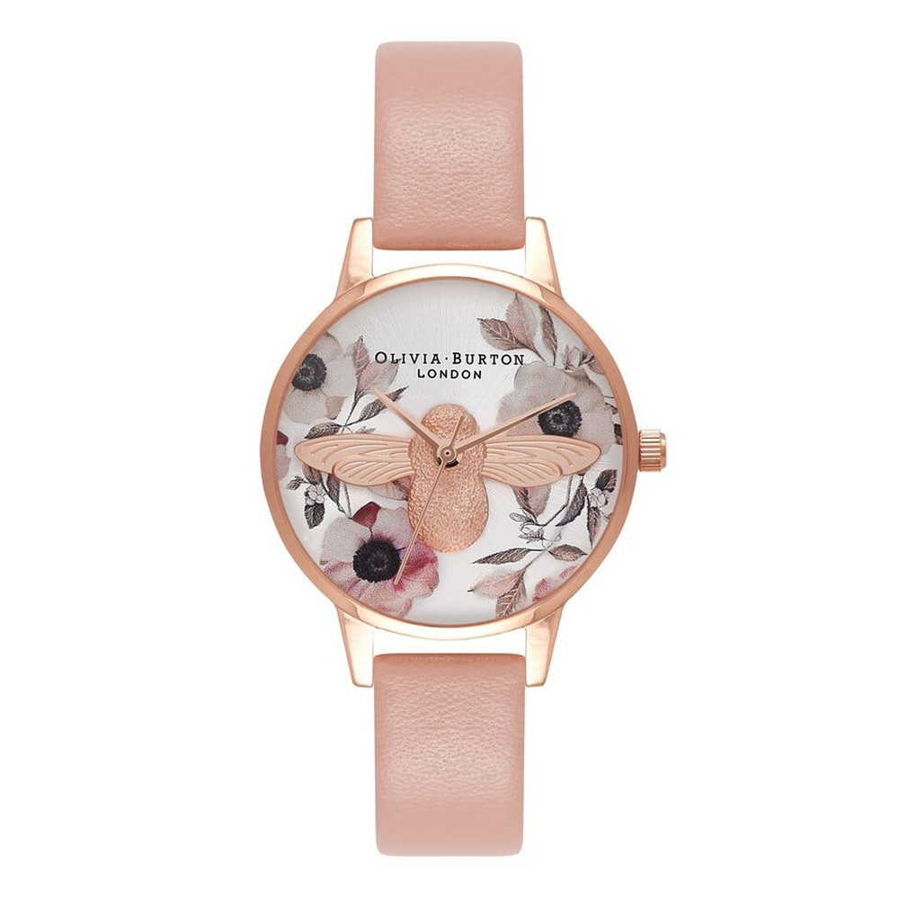 Botanical 3D Bee Watch - Dusty Pink, Silver & Rose Gold