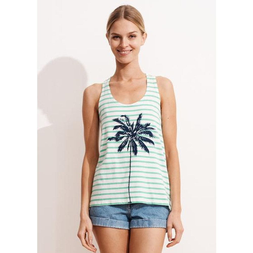 Striped Palm Tree Tank Top - Green & White