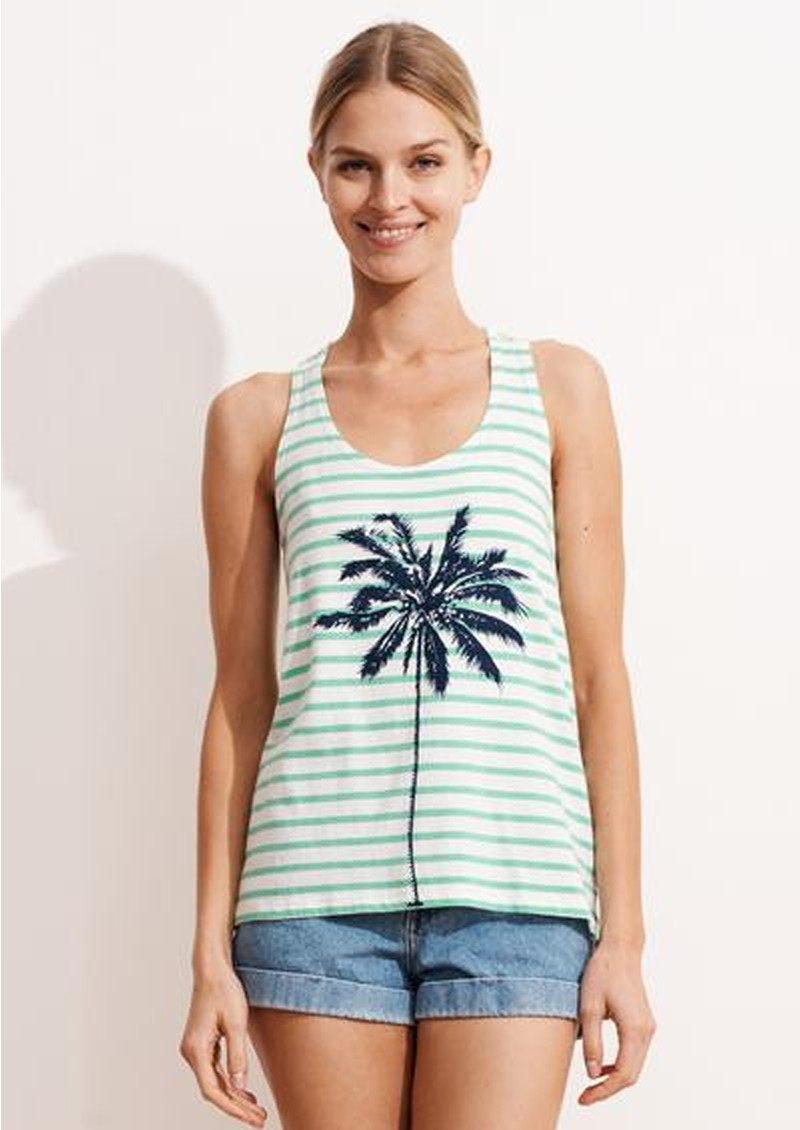 SUNDRY Striped Palm Tree Tank Top - Green & White main image