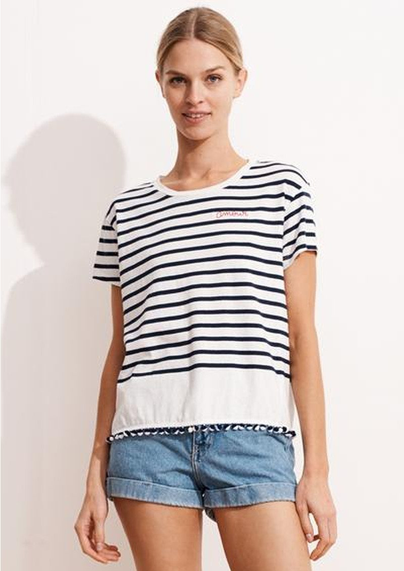 SUNDRY Amour Embroidered Loose Pom Pom Tee - Maritime Navy Stripe main image