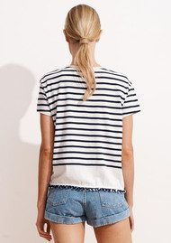 SUNDRY Amour Embroidered Loose Pom Pom Tee - Maritime Navy Stripe
