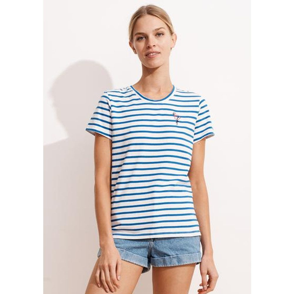 Embroidered Flamingo Stripe Tee - Sky Blue & White