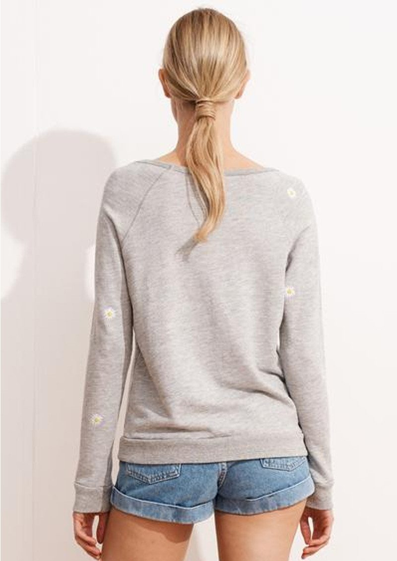 SUNDRY Daisy Patch Raglan Sweatshirt - Heather Grey main image
