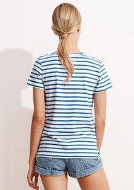 SUNDRY Embroidered Flamingo Stripe Tee - Sky Blue & White