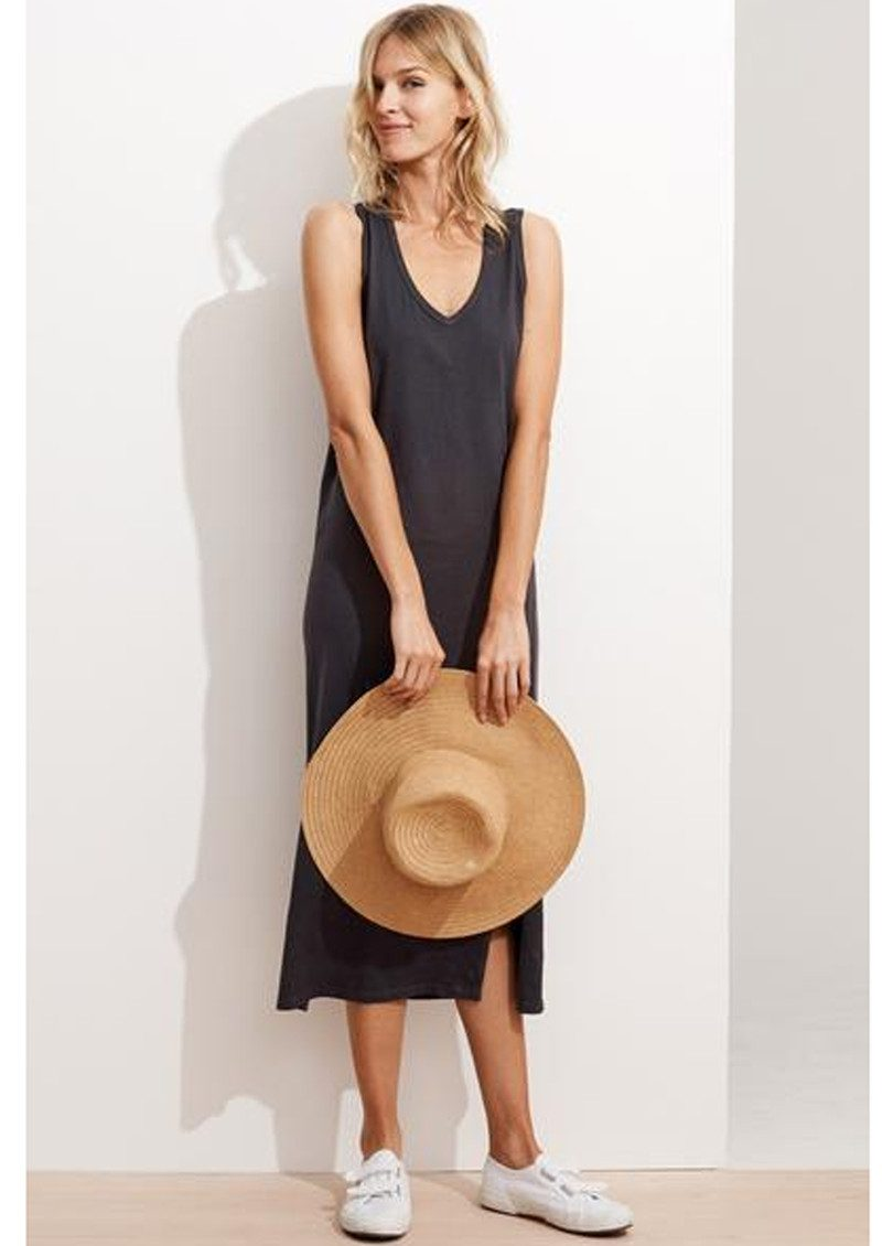 SUNDRY Embroidered Tank Dress - Summer Black main image