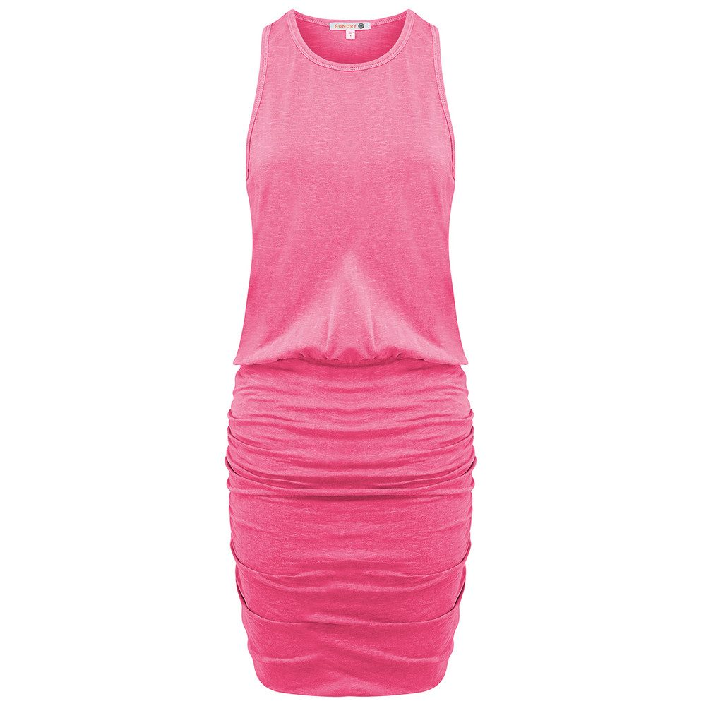 U Neck Dress - Peony Pigment