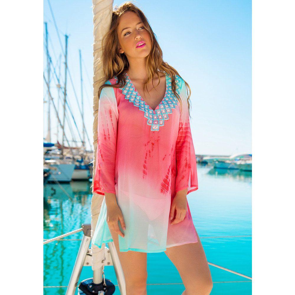 Palma Silk Kaftan - Ice Blue & Pink Coral