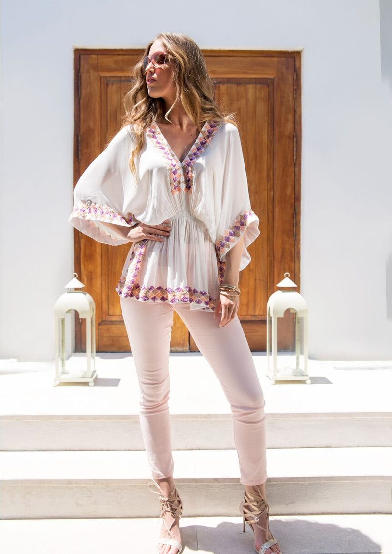 LINDSEY BROWN Manhattan Top - White, Mauve, Pink & Blonde main image