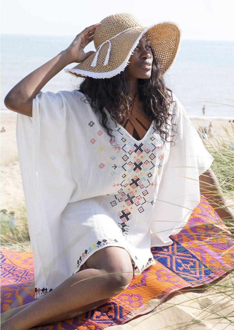 BON BON BEACH Almalfi Kaftan - White main image