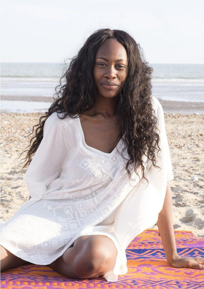BON BON BEACH Mustique Kaftan - White main image