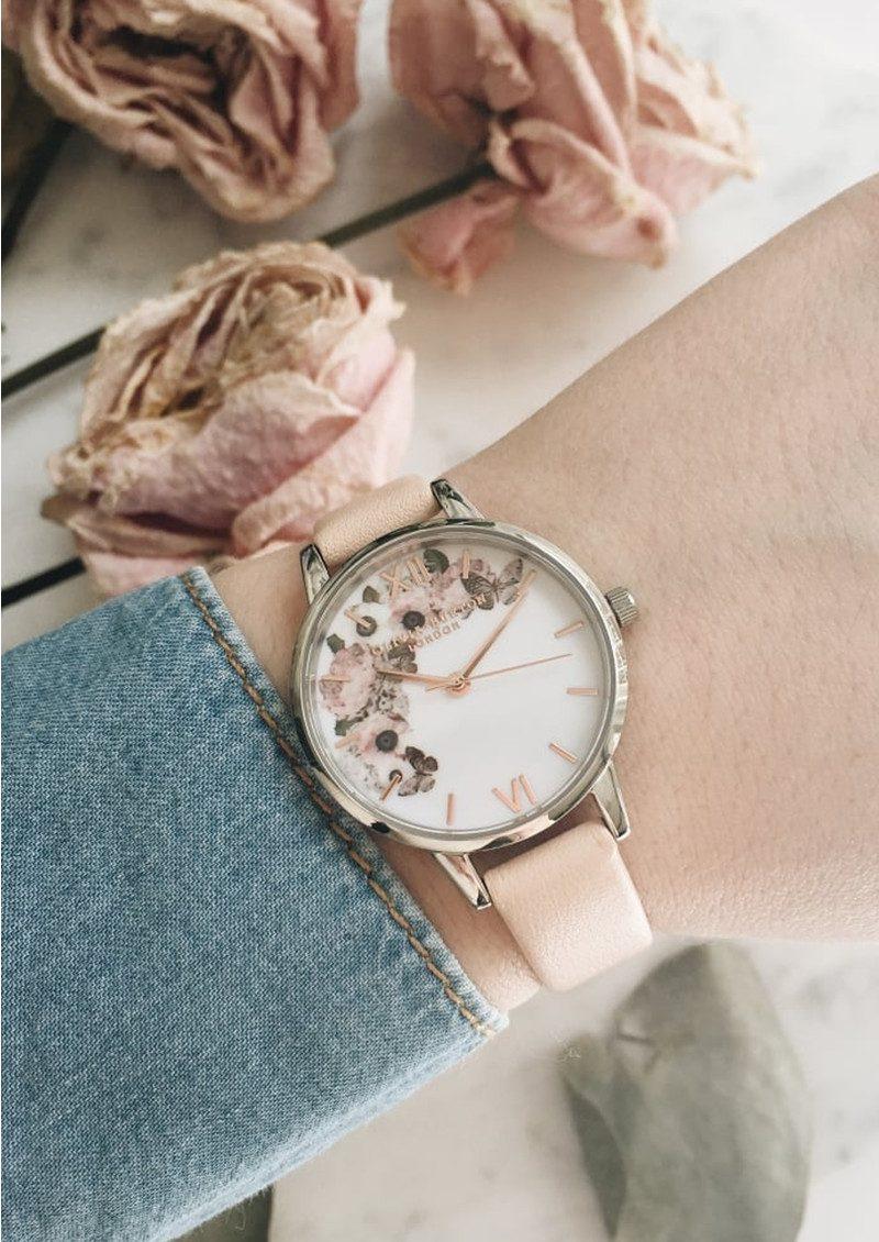 Olivia Burton Enchanted Garden Midi Dial Watch - Nude Peach & Silver main image