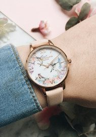 Olivia Burton Painterly Prints Hummingbird Midi Watch - Nude Peach & Rose Gold