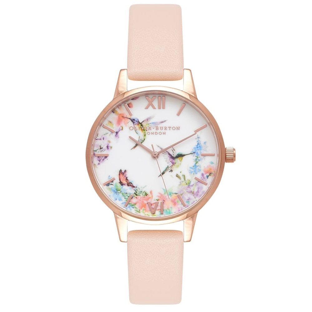 Painterly Prints Hummingbird Midi Watch - Nude Peach & Rose Gold