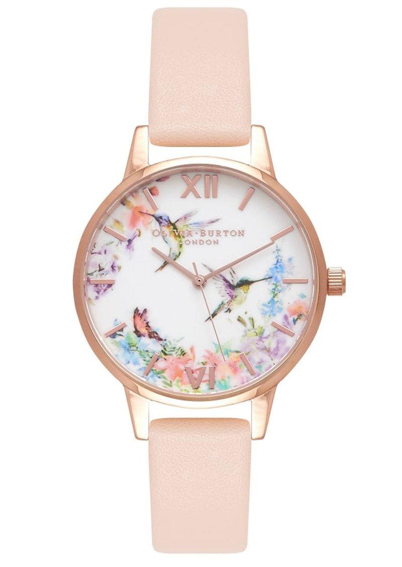 Olivia Burton Painterly Prints Hummingbird Midi Watch - Nude Peach & Rose Gold main image
