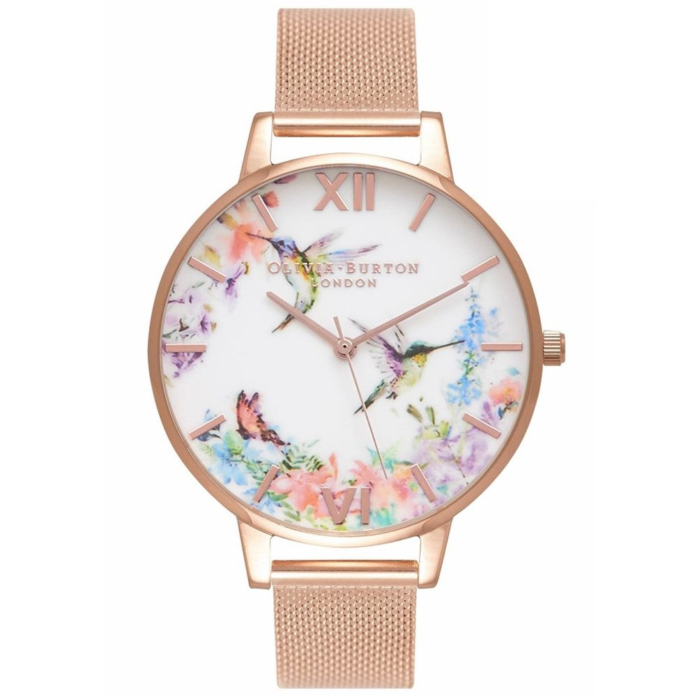Painterly Prints Hummingbird Mesh Watch - Rose Gold