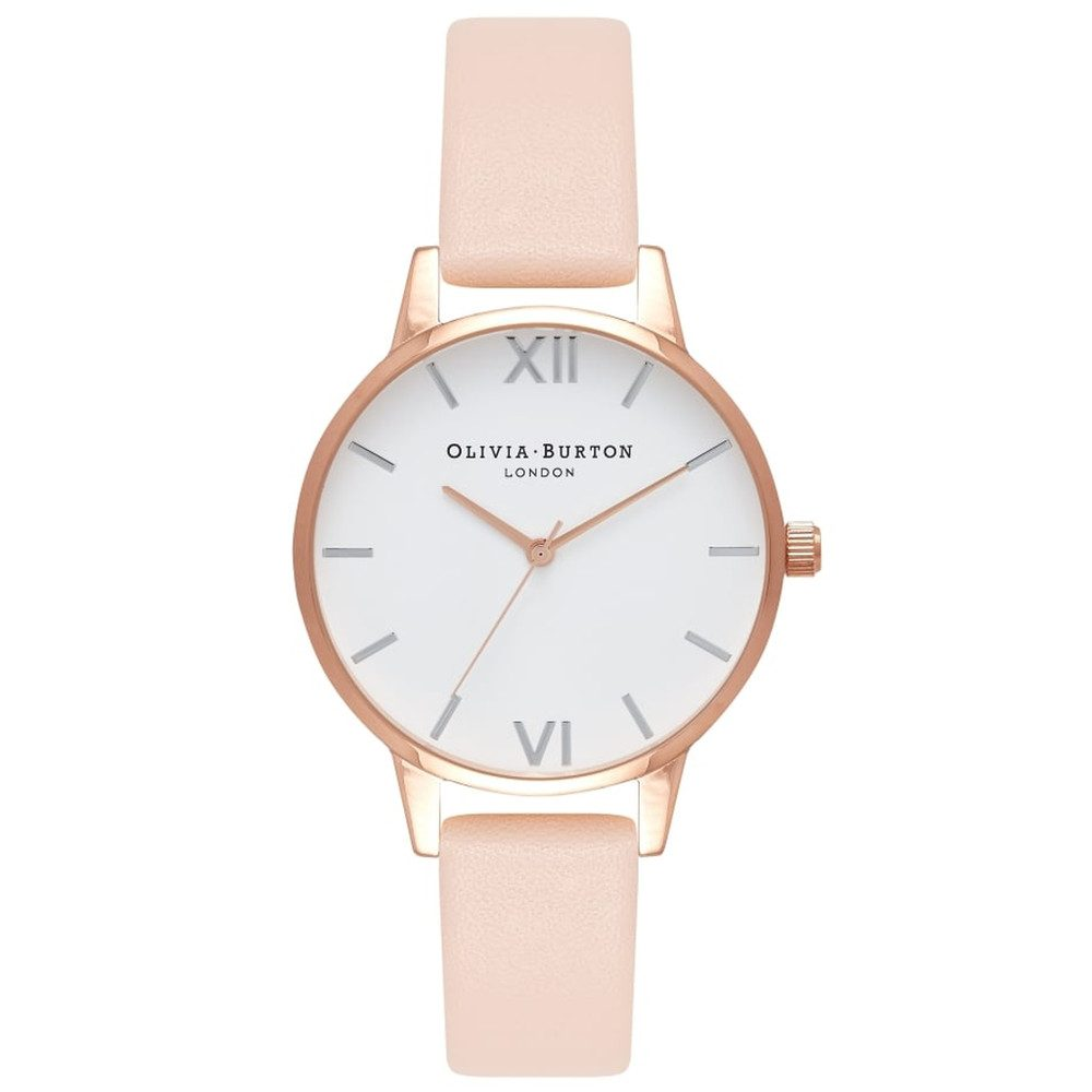 Midi Dial White Dial Watch - Nude Peach & Rose Gold & Silver