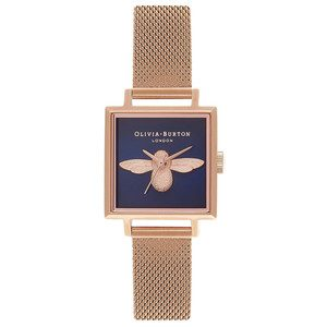 Square Dial 3D Bee Midi Mesh Watch - Rose Gold