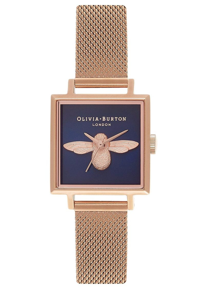 Olivia Burton Square Dial 3D Bee Midi Mesh Watch - Rose Gold main image