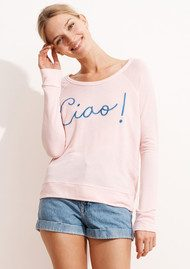 SUNDRY Ciao! Cropped Pullover - Rose