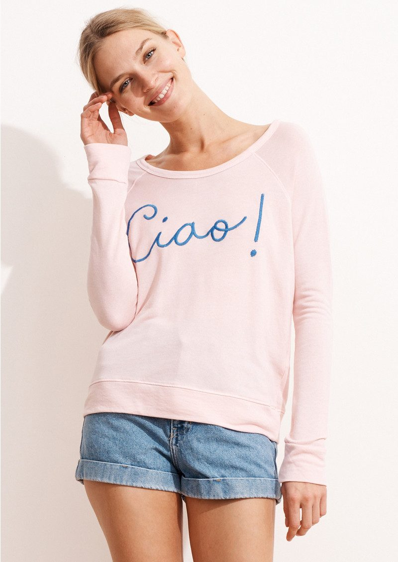 SUNDRY Ciao! Cropped Pullover - Rose main image