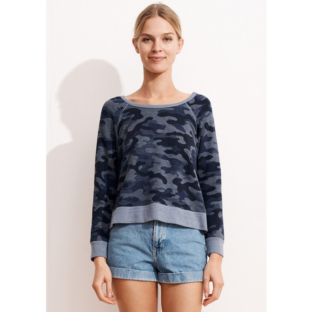 Camo Cropped Pullover - Heather Denim