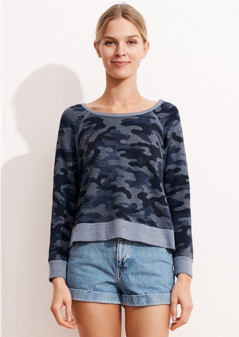 SUNDRY Camo Cropped Pullover - Heather Denim main image