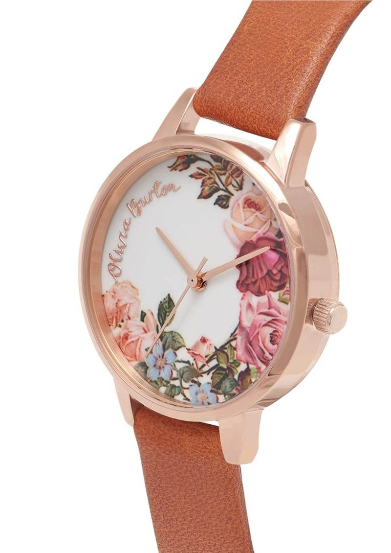 Olivia Burton English Garden Midi Watch - Tan & Rose Gold main image