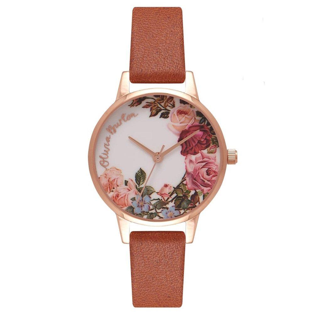English Garden Midi Watch - Tan & Rose Gold