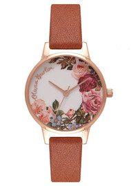 Olivia Burton English Garden Midi Watch - Tan & Rose Gold