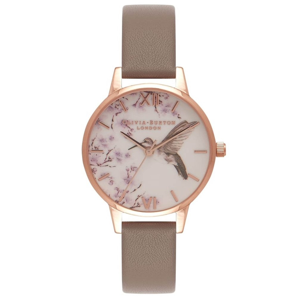 Painterly Prints Hummingbird Midi Watch - London Grey & Rose Gold