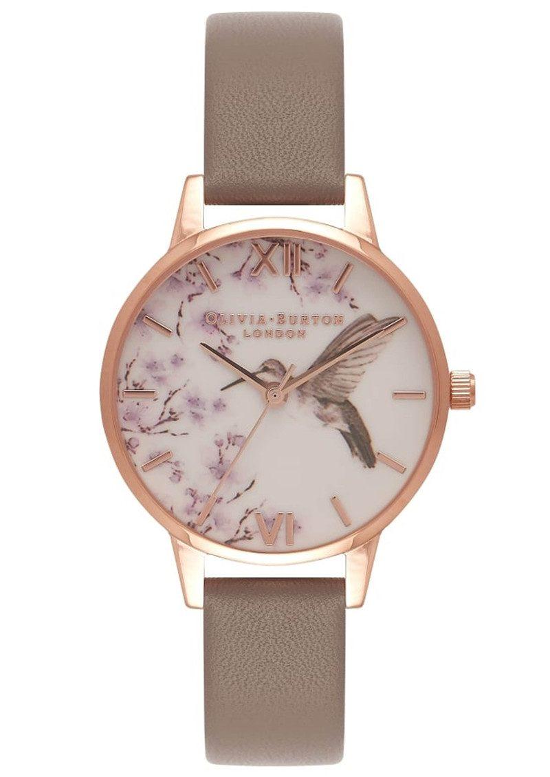 Olivia Burton Painterly Prints Hummingbird Midi Watch - London Grey & Rose Gold main image