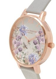 Olivia Burton Parlour Floral Bee Watch - Grey & Rose Gold