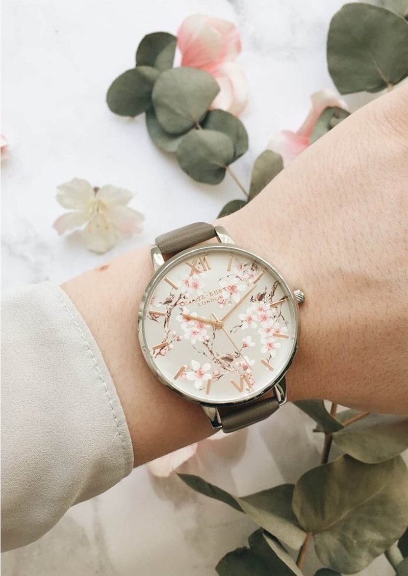 Olivia Burton Parlour Blossom Birds Watch - Iced Coffee & Silver main image