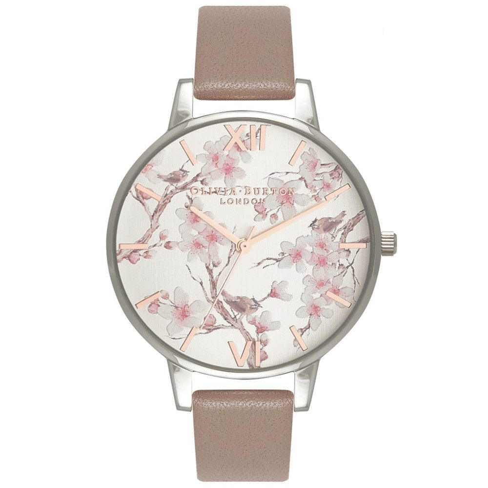 Parlour Blossom Birds Watch - Iced Coffee & Silver