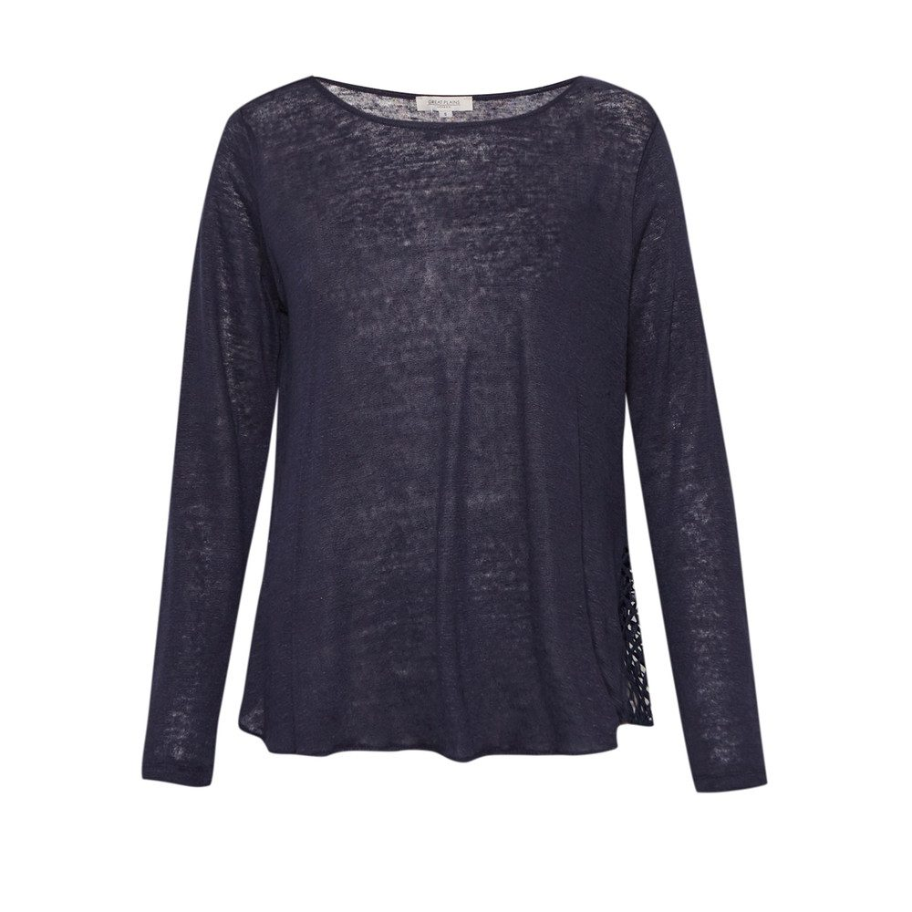 Lindy Linen Lace Detail Tee - Classic Navy