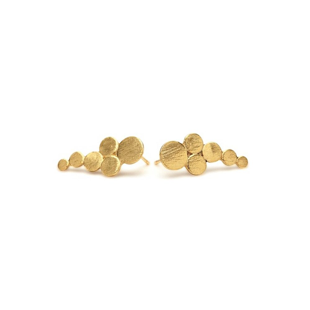 Multi Coin Stick Earrings - Gold