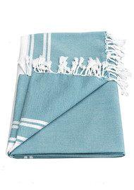 HAMMAMHAVLU Ziya Silver Lurex Stripe Towel - Jade