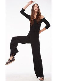 KAMALI KULTURE Off Shoulder Shirred Jumpsuit - Black